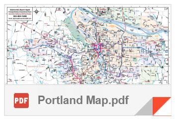 Portland Oregon, detailed area map
